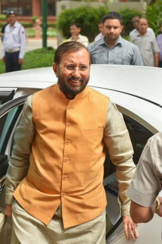 Union Minister for Environment, Forest & Climate Change and Information & Broadcasting Prakash Javadekar during the Budget Session at Parliament House in New Delhi on Wednesday. PTI photo