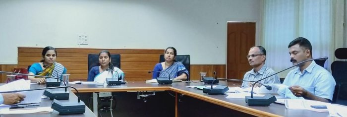 Deputy Commissioner Hephsiba Rani Korlapati chairs a meeting in Udupi on Wednesday.