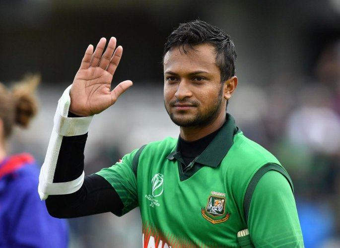 Shakib Al Hasan during a match in the ICC World Cup 2019. Photo credit: AFP