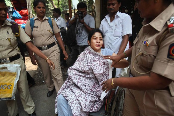 Former INX media chief Indrani Mukherjee after being discharged from the JJ Hospital in Mumbai last year (PTI File Photo)