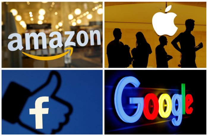 The logos of Amazon, Apple, Facebook and Google. Reuters photo