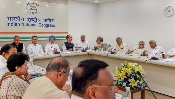 Rahul Gandhi, former prime minister Manmohan Singh and other party leaders at a Congress Working Committee meeting. Credit: PTI file photo