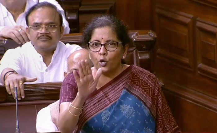 Union Finance Minister Nirmala Sitharaman speaks in the Rajya Sabha during the Budget Session of Parliament, in New Delhi, Friday, July 12, 2019. (RSTV/PTI Photo)