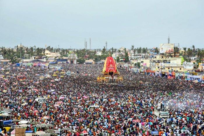 Devotees take part in the Bahuda Rath Yatra or 'Return Car Festival', in Puri, Odisha, Friday, June 12, 2019. (PTI Photo)