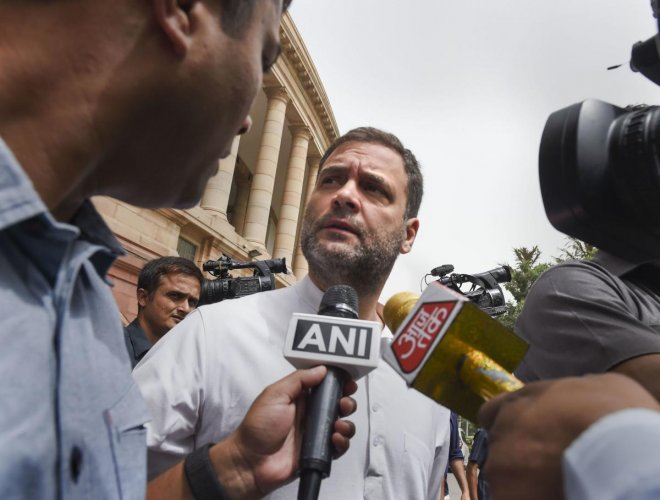 Congress leader Rahul Gandhi talks to the media during the Budget Session of Parliament, in New Delhi, Thursday, July 11, 2019. (PTI Photo)