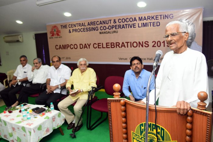 Writer Erya Lakshminarayan Alva speaks at the 'Formation Day' of Campco Ltd organised at Varanashi Towers in Mangaluru on Thursday.