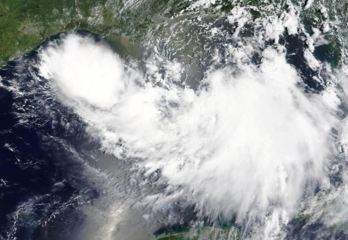 Tropical Storm Barry is shown in the Gulf of Mexico approaching the coast of Louisiana. (NASA/Handout via Reuters)