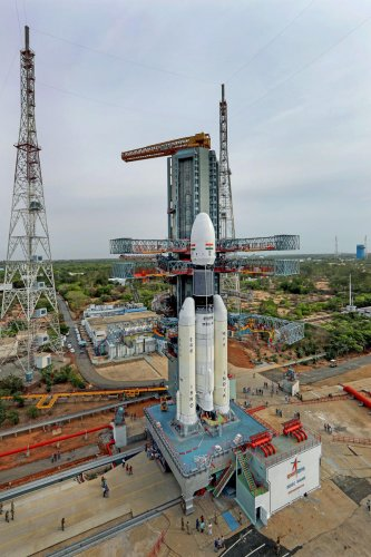 In this picture released by ISRO Thursday, July 11, 2019, the Geosynchronous Satellite Launch Vehicle Mark III (GSLV Mk 3) or 'Bahubali' is seen at the second launch pad ahead of the launch of Chandrayaan-2, in Sriharikota. The space mission, which aims to place a robotic rover on the moon, is set to be launched on July 15, 2019. ISRO/PTI