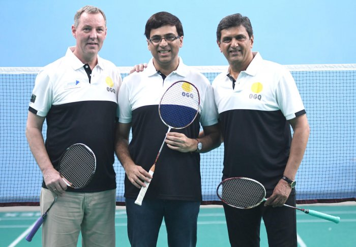 Morten Frost, Viswanathan Anand and Prakash Padukone at the Padukone-Dravid Centre of Sports Excellence in Bengaluru on Tuesday. DH photo/ Srikanta Sharma R
