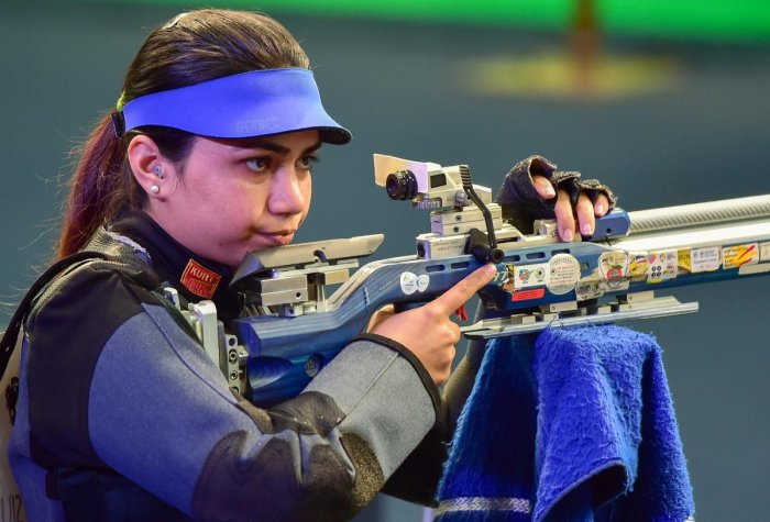 FOCUS, FOCUS: Apurvi Chandela prepares for a shot during the final of the women's 10M air rifle in the World Cup in New Delhi on Saturday. PTI