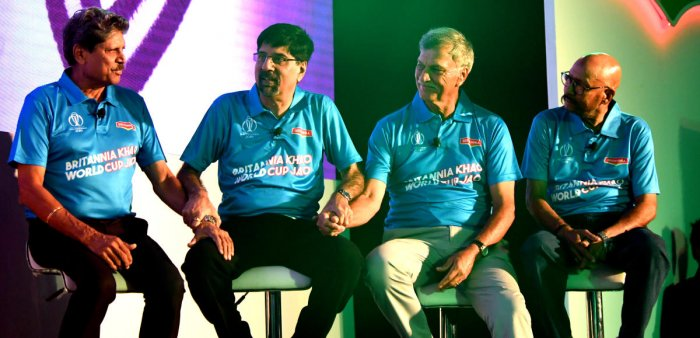 1983 World Cup winning captain Kapil Dev and his team-mates Kris Srikkanth, Roger Binny and Syed Kirmani (from left) at a press conference in Bengaluru on Tuesday. DH Photo Srikanta Sharma R