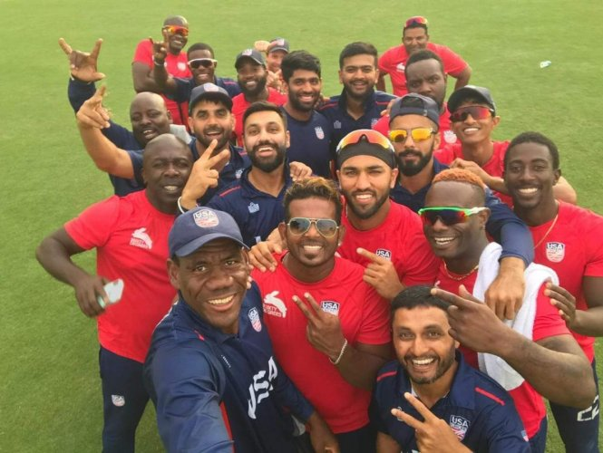 UNITED COLOURS: The United States team celebrates after attaining the ODI status. USA Cricket