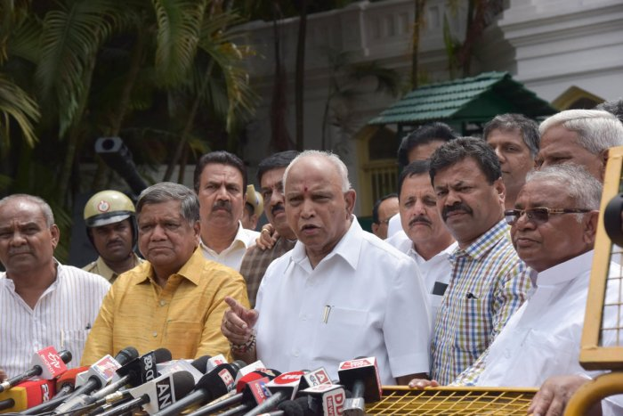 """The chief minister openly told the Legislative Assembly that he doesn't want to continue without the confidence of the MLAs. In his own words, nothing else can be taken up in the Assembly session before the trust motion,"" Yeddyurappa said. (DH Photo)"