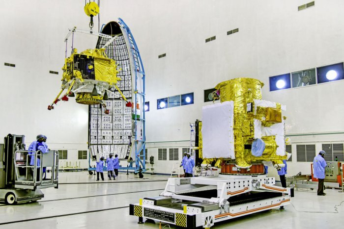 Sriharikota: In this picture released by ISRO Thursday, July 11, 2019, officials carry out the hoisting of the Vikram Lander during the integration of Chandrayaan-2, at the launch center in Sriharikota. The space mission, which aims to place a robotic rov