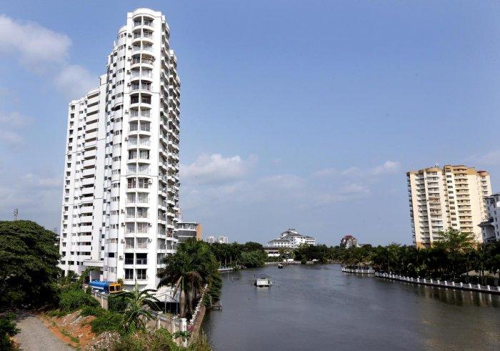 Waterfront apartments at Kochi in Kerala.