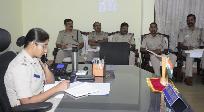 Udupi Superintendent of police Nisha James replies to a caller during the phone-in programme on Friday.