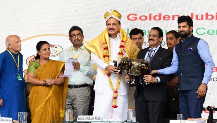 Vice President M Venkaiah Naidu inaugurates the Golden Jubilee celebrations of Central Institute of Indian Languages (CIIL), in Mysuru, Saturday, July 13, 2019. (PTI Photo)