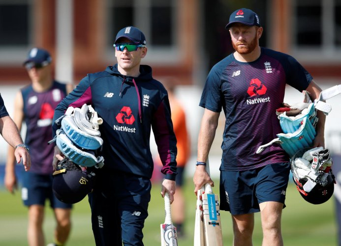 England's Eoin Morgan (left) and Jonny Bairstow during a training session at the Lord's on Saturday. Reuters