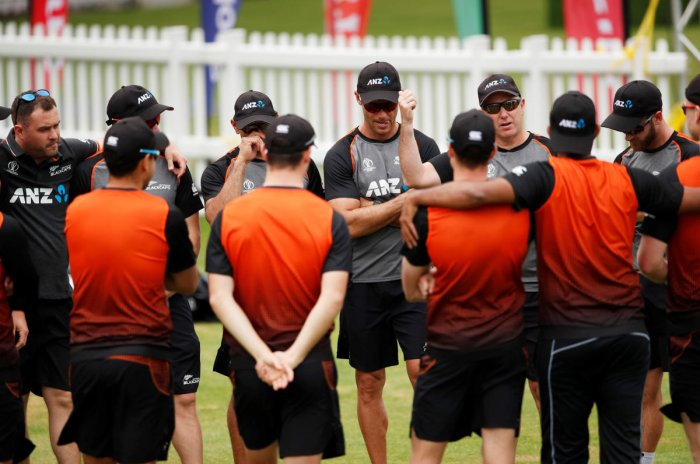 New Zealand players are all ears as coach Gary Stead (second from right) gives a pep talk during Saturday's nets session at Lord's. Reuters
