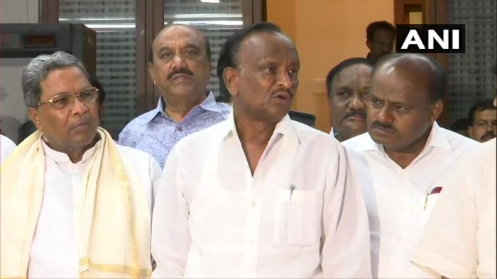 The Congress-JD(S) coalition celebrated late on Saturday night after rebel legislator MTB Nagaraj said he was ready to withdraw his resignation. (Image courtesy ANI)