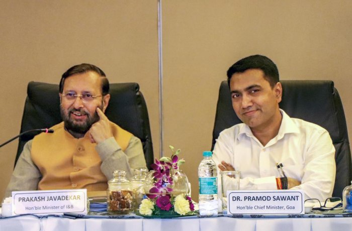 Union Minister of Information and Broadcasting Prakash Javadekar along with Goa Chief Minister Pramod Sawant chairs a meeting of the steering committee of International Film Festival of India for its golden jubilee edition, in Panaji. (PTI Photo)