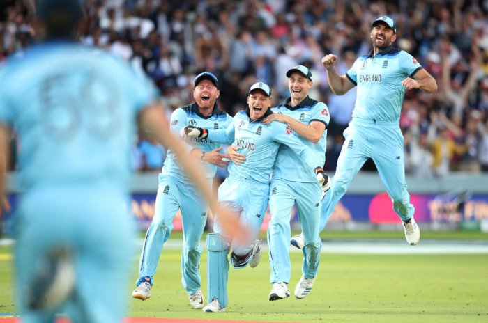 England's Jonny Bairstow, Jos Buttler, Chris Woakes and Liam Plunkett celebrate winning the World Cup after the super over. Reuters