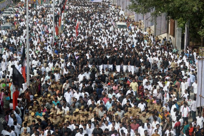 Supporters of the All India Anna Dravida Munnetra Kazhagam (AIADMK) party take part in a procession at the memorial of former Tamil Nadu chief minister Jayalalitha in 2017 (AFP File Photo)