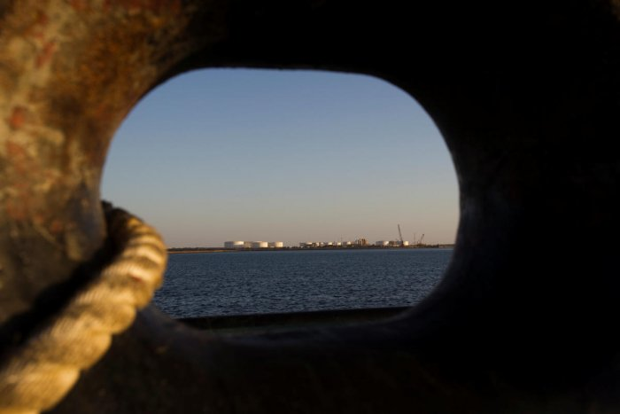 A general view of an oil dock is seen from a ship at the port of Kalantari in the city of Chabahar, 300km east of the Strait of Hormuz. REUTERS File Photo