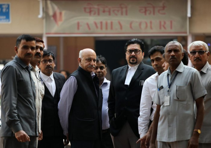 M.J. Akbar leaves a court after a hearing in a defamation suit he filed against Priya Ramani (Reuters Photo)