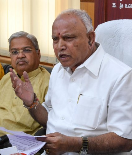 """""""I demand that the Chief Minister if he is honest and cares for the democratic system, he should immediately resign or should move a motion seeking for trust vote on Monday itself,"""" state BJP chief B S Yeddyurappa said. (DH File Photo)"""