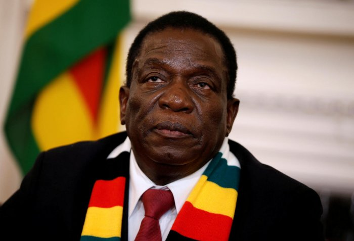 Zimbabwe's President Emmerson Mnangagwa gives a media conference at the State House in Harare last year (Reuters File Photo)