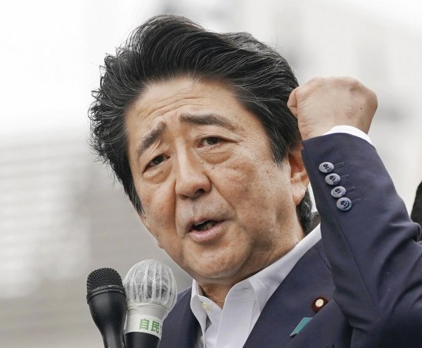 Funabashi: Japan's Prime Minister and leader of the Liberal Democratic party Shinzo Abe delivers a speech on a street ahead of the Upper House election, in Funabashi, near Tokyo Sunday, July 7, 2019. AP/PTI