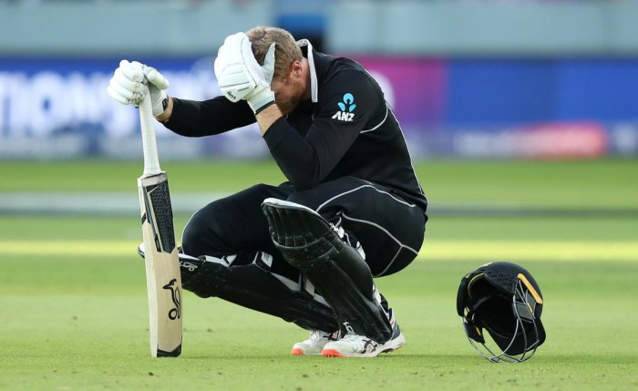 New Zealand's Martin Guptill looks dejected after England win the World Cup following a super over. (Reuters Photo)