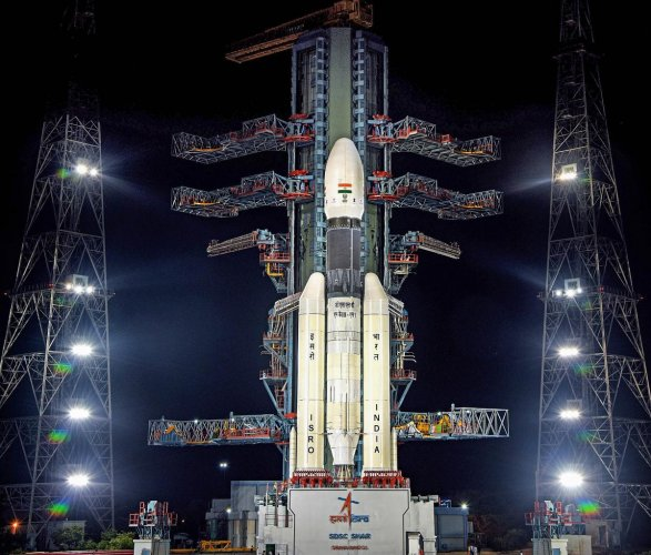 A view of the Chandrayaan-2 on board GSLVMkIII-M1 at Satish Dhawan Space Centre. (PTI Photo)