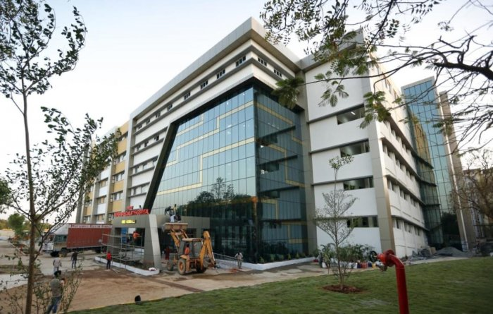 Super-speciality hospital building at KIMS premises in Hubballi.