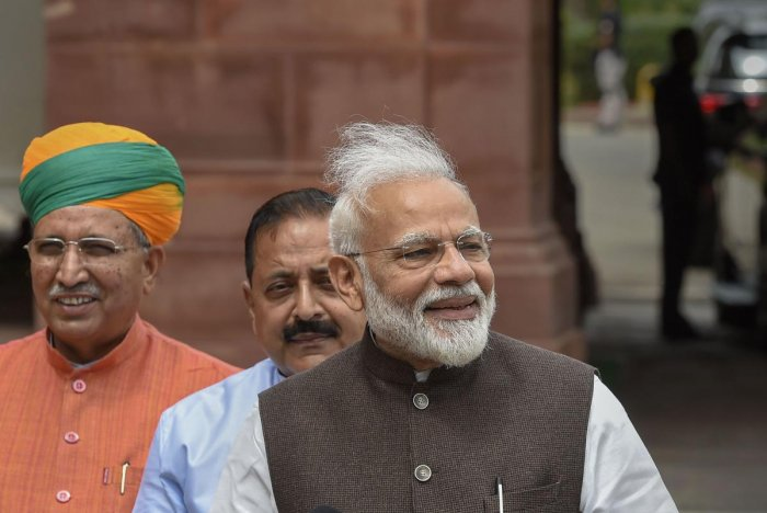 Prime Minister Narendra Modi Tuesday asked BJP MPs to nurse their constituency by playing a leading role in its development and advised them to take up a cause of human sensitivity like eradication of leprosy or tuberculosis (PTI Photo)