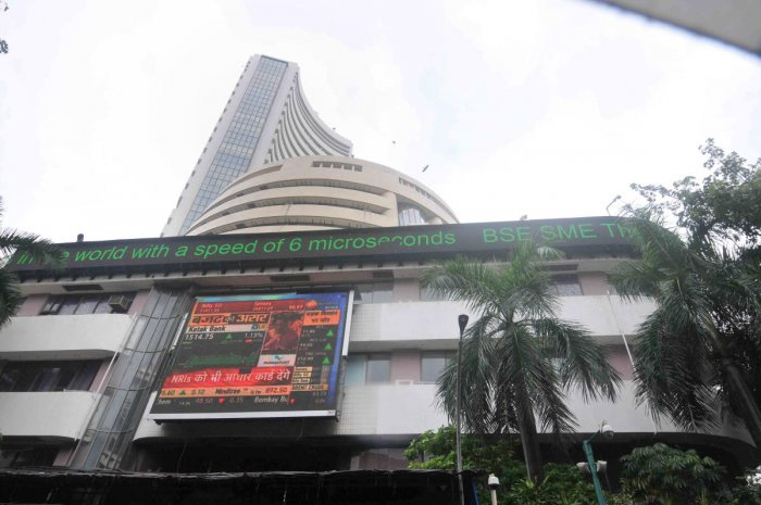 The stock market index on a display screen at the Bombay Stock Exchange (BSE) building in Mumbai (PTI Photo)