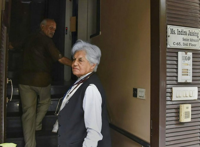 Supreme Court lawyer Indra Jai Singh at her residence during a raid by CBI. (PTI Photo)