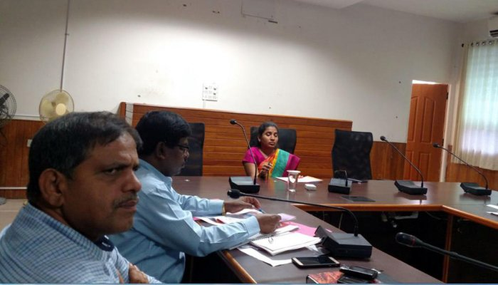 Deputy Commissioner Hephsiba Rani Korlapati speaks at a meeting held at DC's Office in Manipal.