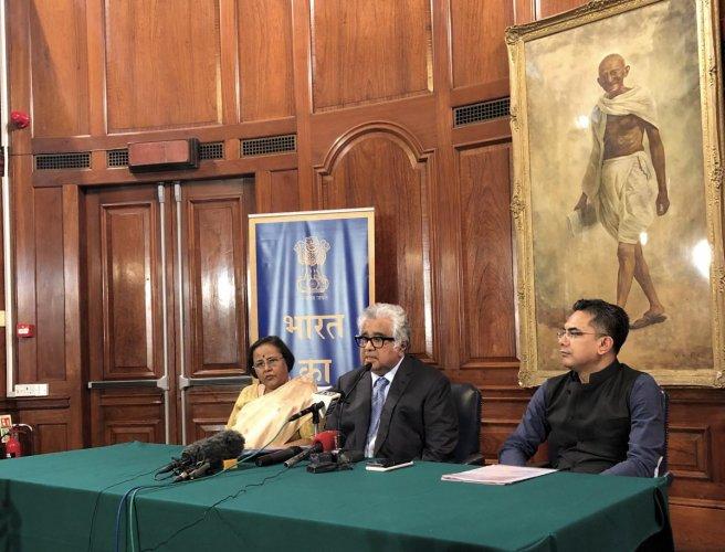 Senior advocate Harish Salve addresses a press conference on ICJ's verdict in Kulbhushan Jadhav case in London on Wednesday. PTI photo
