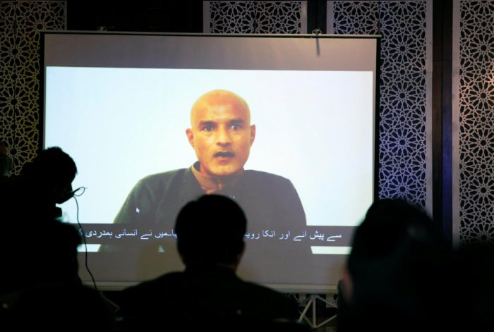 Kulbhushan Jadhav is seen on a screen during a news conference at the Ministry of Foreign Affairs in Islamabad, Pakistan. (Reuters File Photo)