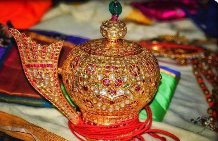 Diamond-studded Krishna Rajamudi crown