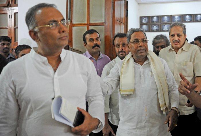 Congress Legislature Party (CLP) Siddaramaiah and Karnataka Pradesh Congress Committee (KPCC) president Dinesh Gundu Rao have submitted a petition to the Speaker seeking Shankar's disqualification. (DH Photo)