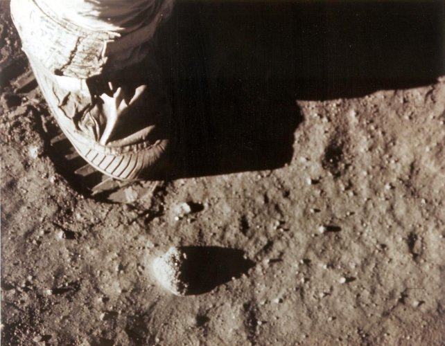 In this NASA file photo taken on July 20, 1969 Apollo 11 commander Neil Armstrong's right foot leaves a footprint in the lunar soil.Photo credit: AFP