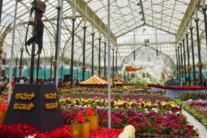 The Glass House in Bengaluru's Lalbagh during the Independence Day Flower Show, 'Floral Tribute to the Indian Defence', organised by Horticulture Department and The Mysore Horticulture Society, on Saturday. Photo by S K Dinesh
