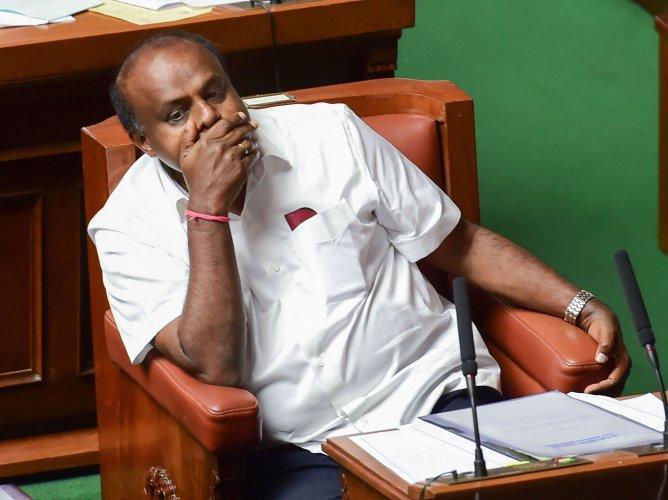 Karnataka Chief Minister HD Kumaraswamy during the Assembly Session, at Vidhana Soudha. (PTI Photo)