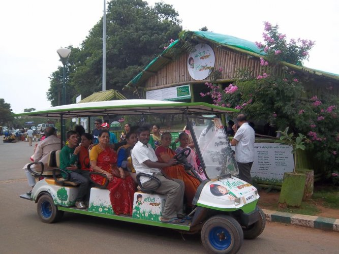 Eco-friendly: Citizens want visitors and officials to walk or move around using a battery-operated vehicle. DH photo