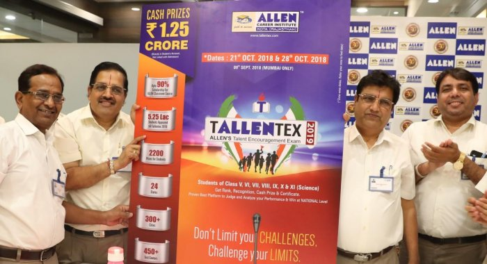 TALLENTEX 2019 conducted by the ALLEN Career Institute will be conducted zone-wise in September and October.