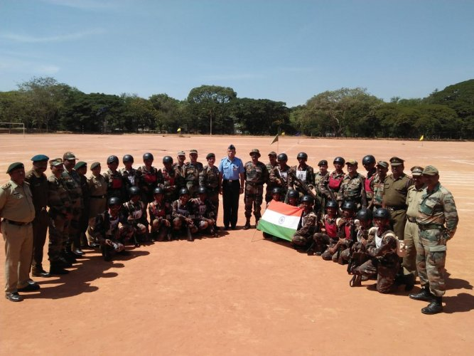 NCC cadets at the demo-cum-lecture on tactical operations at the Jalahalli East Air Force station.
