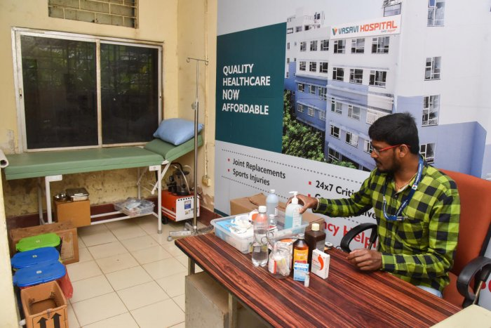 A medical centre set up at the office of the deputy director in Lalbagh near the iconic Glass House. DH PHOTOs/S K Dinesh